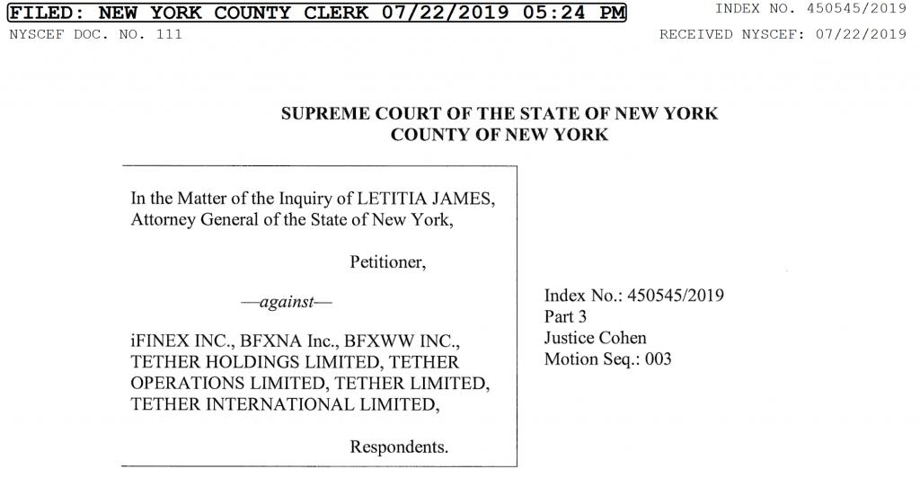 iFinex response to New York General Attorney