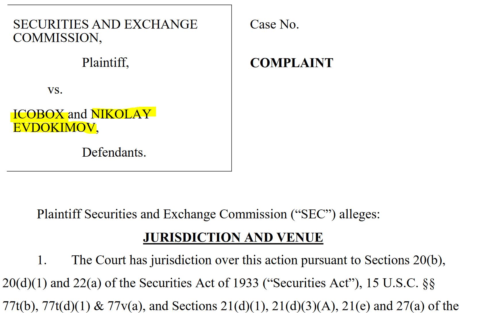 SEC complaint ICOBox and Nikolay Evdokimov