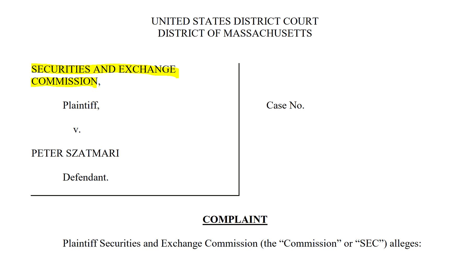 SEC complaint Peter Szatmari