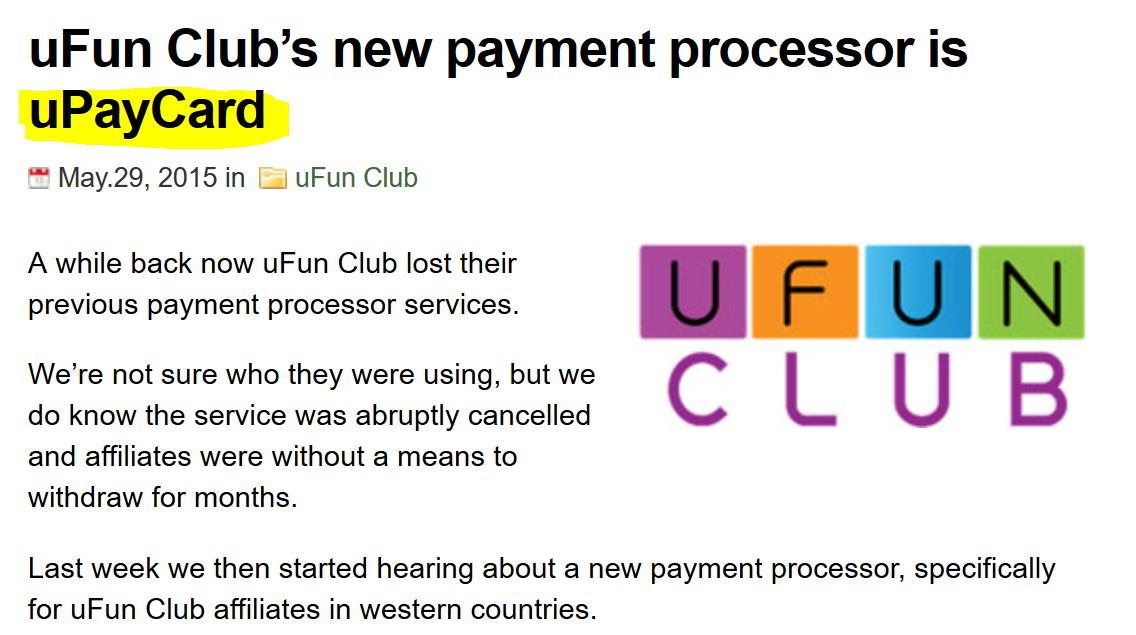 UPayCard and UFunClub