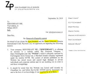 ZP Advocates defamation FinTelegram Eyal Nachum Tamir Zoltovski