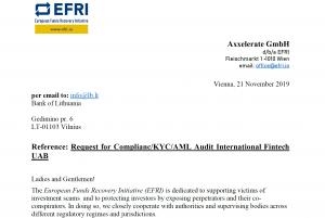 EFRI Request for Compliance Audit International Fintech UAB