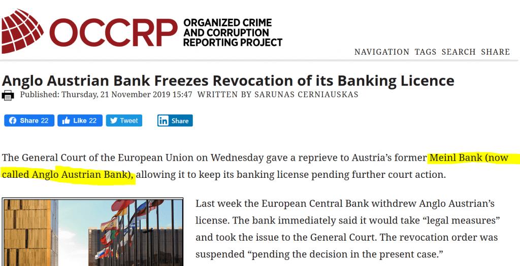 OCCRP Report on Meinl Bank or Anlgo Austrian Bank